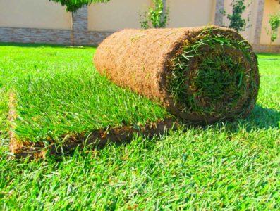 Укладка готовых частей газона